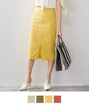 綿麻タイトスカート