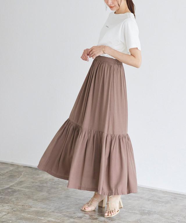 ギャザー切替スカート