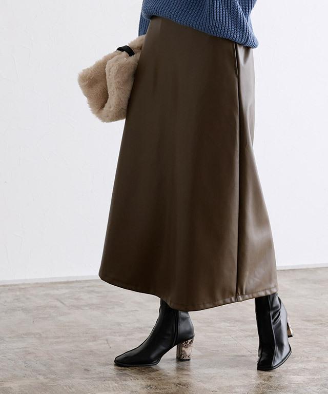 合皮フレアスカート