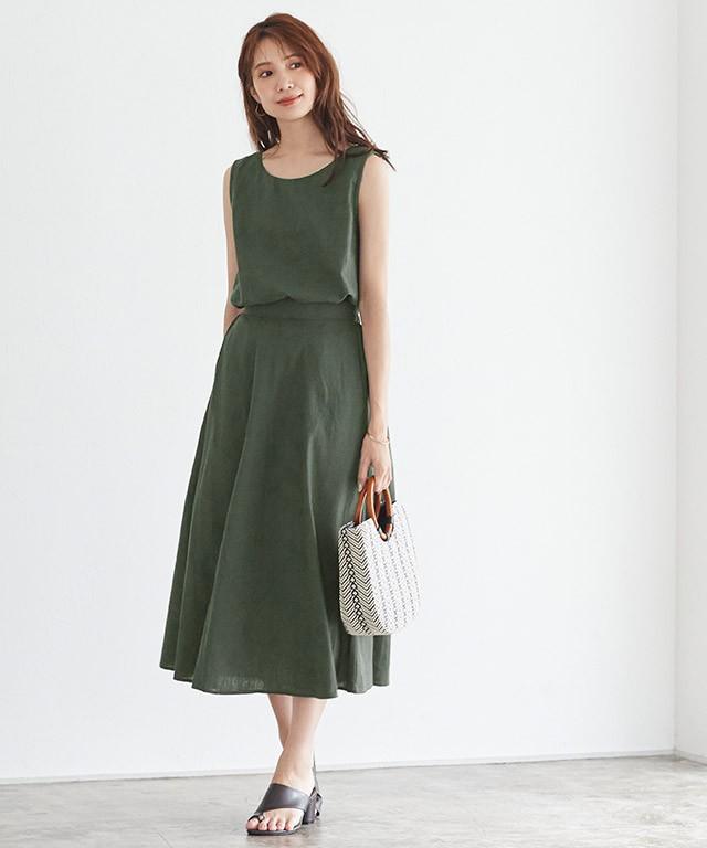 綿麻スカートセットアップ