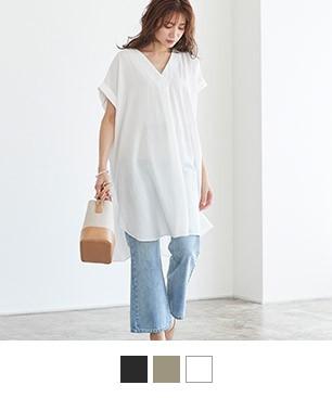 Vネックオーバーシャツ