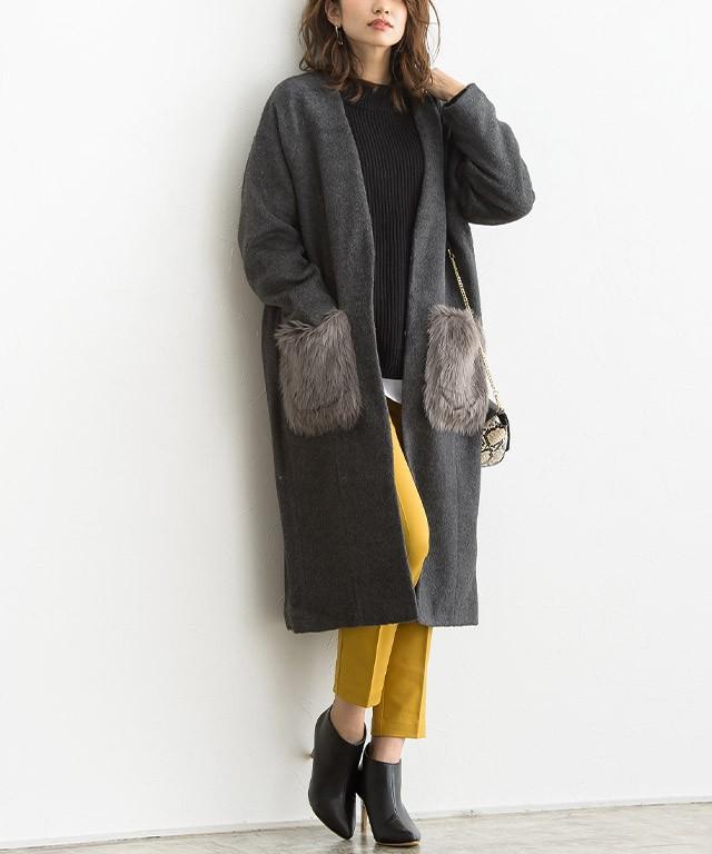 【30%OFF☆クリアランスSALE】ファーポケット付き ノーカラーコート
