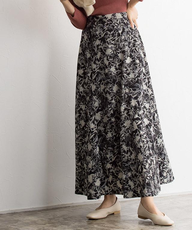 花柄セミフレアスカート