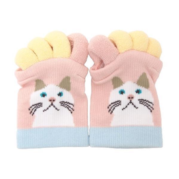 即出荷 足指ソックス 足指 広げる 5本指 靴下 ソックス ネイル ペディキュア リラックス フットケア ストレッチ かわいい ネコ イヌ|piglet|10