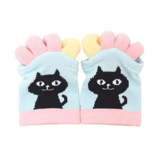 即出荷 足指ソックス 足指 広げる 5本指 靴下 ソックス ネイル ペディキュア リラックス フットケア ストレッチ かわいい ネコ イヌ|piglet|12