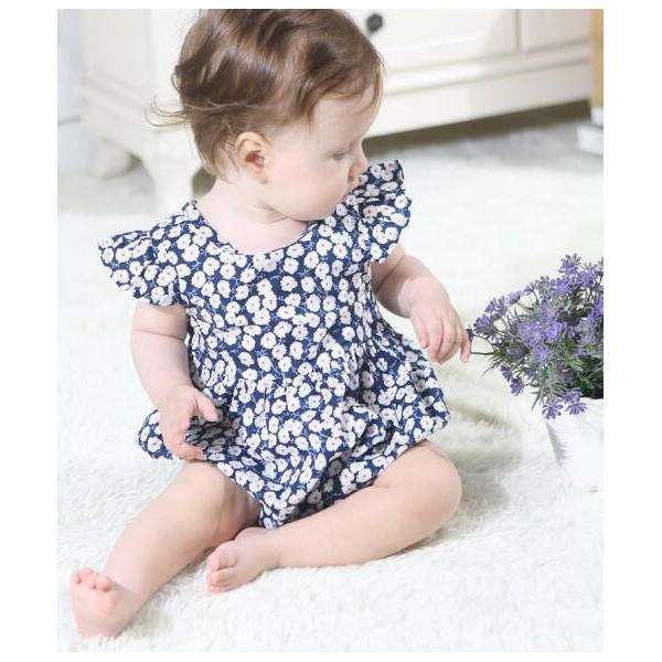 ベビーロンパース,半袖,ボタニカル柄,70サイズから,赤ちゃんの部屋着やおでかけ着として