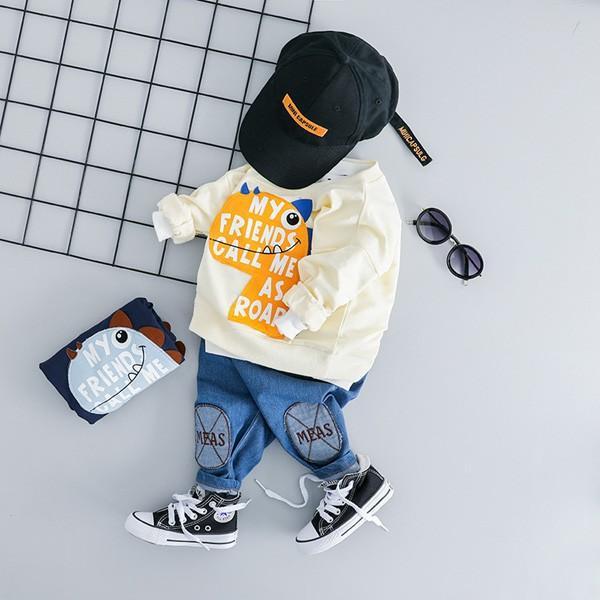 子供服 男 ロンT&パンツ 2枚セット 2019年新作 長袖 Tシャツ ジーンズ ダメージデニム セットアップ 男の子向け 80 90 100 1歳ごろ 送料無料 ゆうパケット|pinkybabys|11