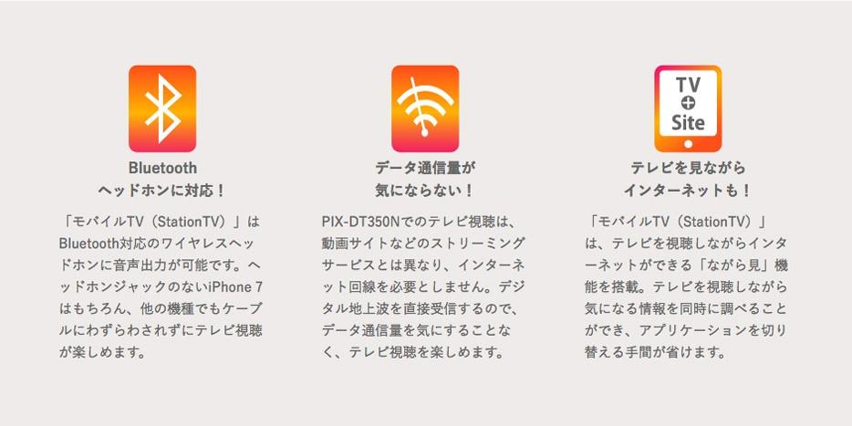 Bluetoothヘッドホンに対応/データ通信量が気にならない/テレビを見ながらインターネットも!