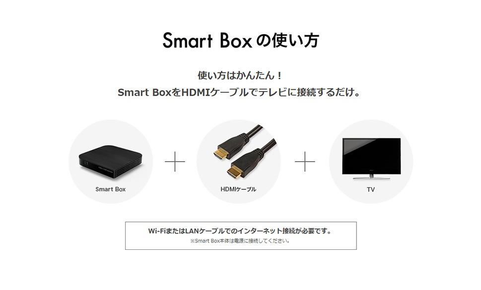 使い方はかんたん!Smart BoxをHDMIケーブルでテレビに接続するだけ。