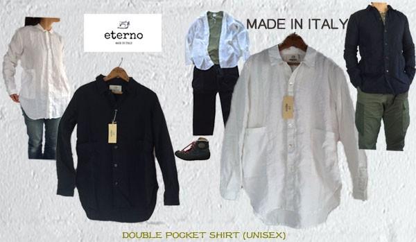 eterno(エテルノ)DOUBLE POCKET SHIRT UNISEX ダブルポケット リネン シャツ