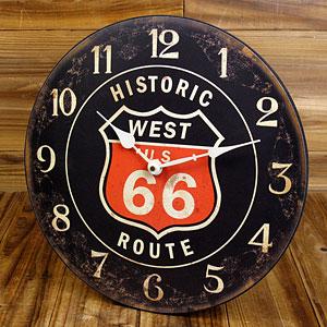 ルート66(ROUTE66)掛け時計/ブラック1