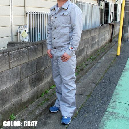 クレイスミス(Clay Smith) つなぎ(オーバーオール) 長袖 HOGTALES グレー の着用例1
