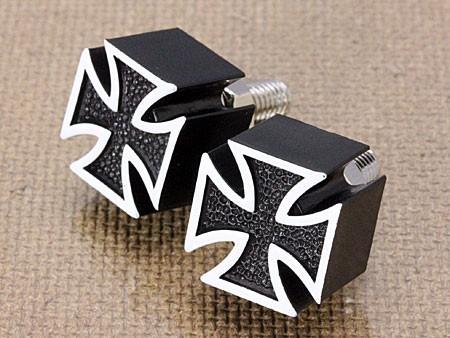 ナンバープレートボルト(ライセンスボルト)2個セット/アイアンクロス/ブラック