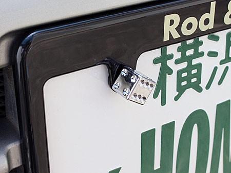 ナンバープレートボルト(ライセンスボルト)2個セット/クロームダイス(サイコロ)の使用例