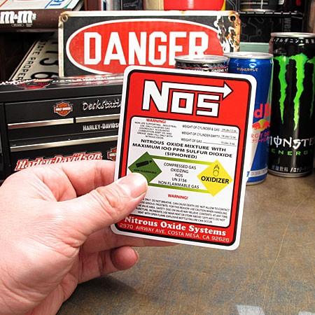 ステッカー NOS(ノス) WARNING ラベル サイズSのサイズ