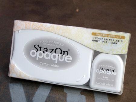 スタンプ台 不滅インキ(インク) 油性多目的用 ステイズオン コットンホワイト パッケージ