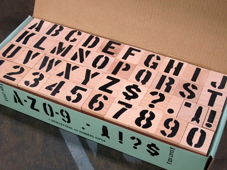 ステンシルアルファベットスタンプ 42Pセット サイズL2