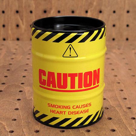 ドラム缶型灰皿 CAUTION1