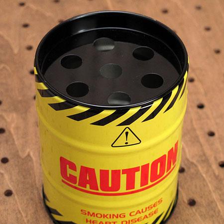 ドラム缶型灰皿 CAUTION2