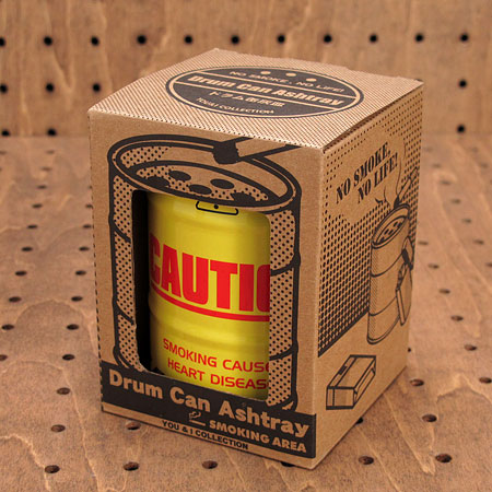 ドラム缶型灰皿 CAUTION3