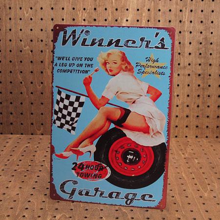 アメリカンインテリアプレート ピンナップガール Winner's Garage1