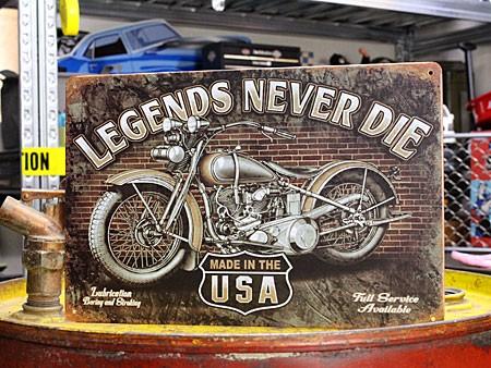 アメリカンインテリアプレート アメリカンバイク LEGENDS NEVER DIE1