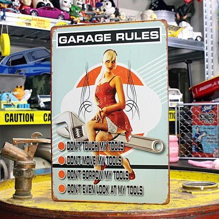 アメリカンインテリアプレート ピンナップガール GARAGE RULES サイズS