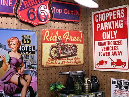 アメリカンインテリアプレート アメリカンバイク Ride Free! サイズSの使用例