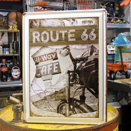 アメリカンインテリアプレート ルート66(ROUTE66) Hi-Way CAFE サイズM