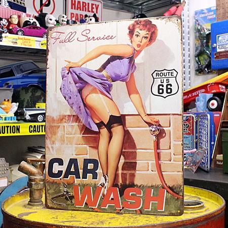 アメリカンインテリアプレート ピンナップガール CAR WASH サイズM