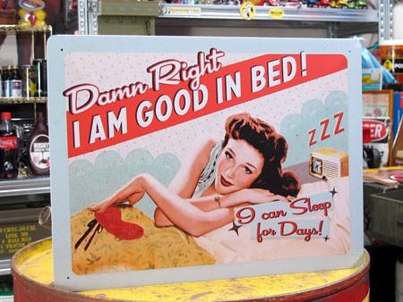 アメリカンインテリアプレート Damn Right, I AM GOOD IN BED! サイズM