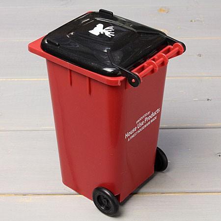 ゴミ箱型小物入れ貯金箱ペンスタンドレッドの裏面