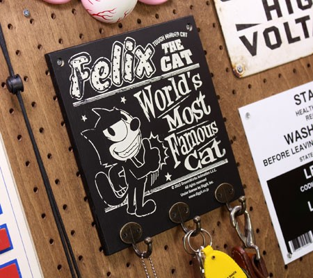 フィリックス・ザ・キャット フックボード ハンガー 壁掛け 木製 FELIX THE CAT GOODの使用例2