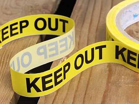 KEEPOUT(立入禁止)粘着テープ15mm幅の詳細