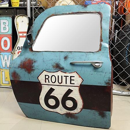 ドア型ウォールミラー 壁掛け鏡 アンティーク調 ルート66 ROUTE66