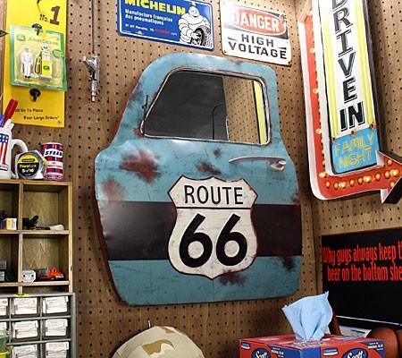 ドア型ウォールミラー壁掛け鏡アンティーク調ルート66ROUTE66[車/アメリカ]の使用例