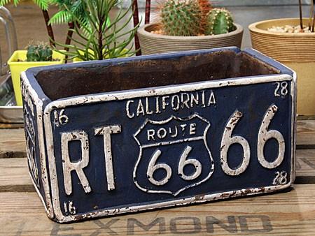 プランター 植木鉢 アメリカン アンティーク調 ルート66 ROUTE66 レクト ブルー