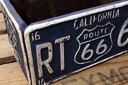 プランター 植木鉢 アメリカン アンティーク調 ルート66 ROUTE66 レクト ブルーの詳細