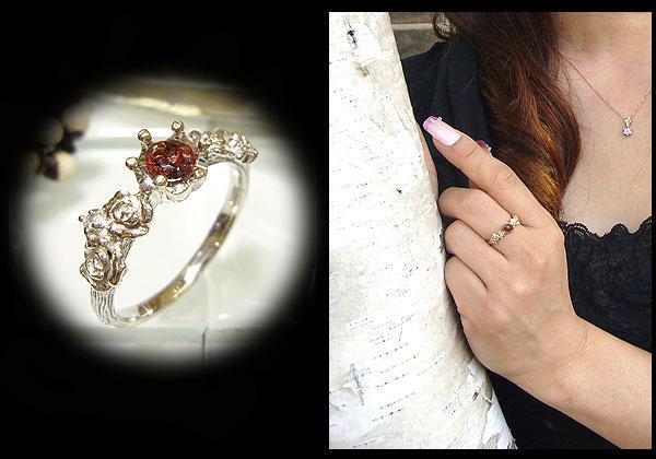 プラチナリング・ストロベリークォーツC・ダイヤモンド付・指輪