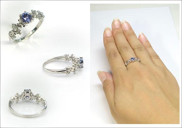 婚約指輪:タンザナイト:プラチナ:大粒:アンティーク