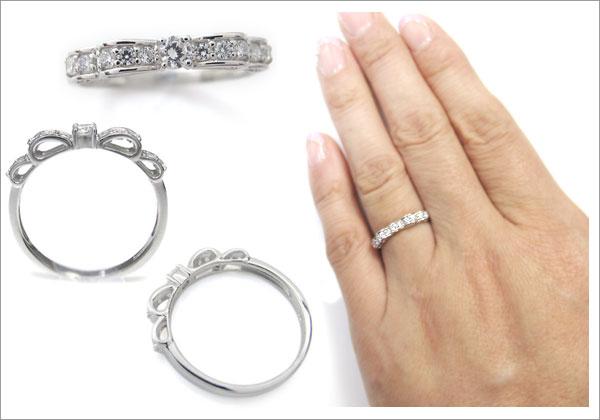 ダイヤモンド,リボン,可愛い,指輪