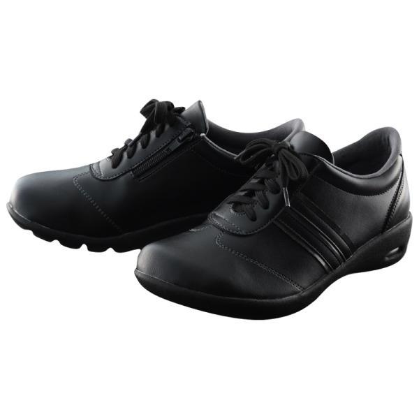 ニーサポートシューズ コンフォートシューズ 大きいサイズ レディース メンズ スニーカー 靴 黒 ブラック サポート 膝に優しい 3L 4L|plus-comfort|10