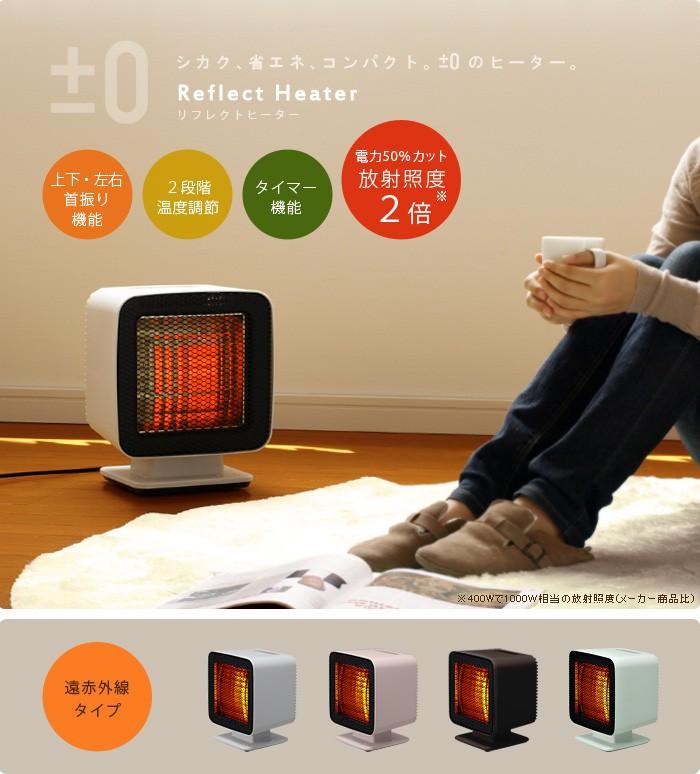 ±0 プラスマイナスゼロ プラマイゼロ Reflect Heater リフレクトヒーター XHS-W310 遠赤外線 電気ストーブ 足元 暖房