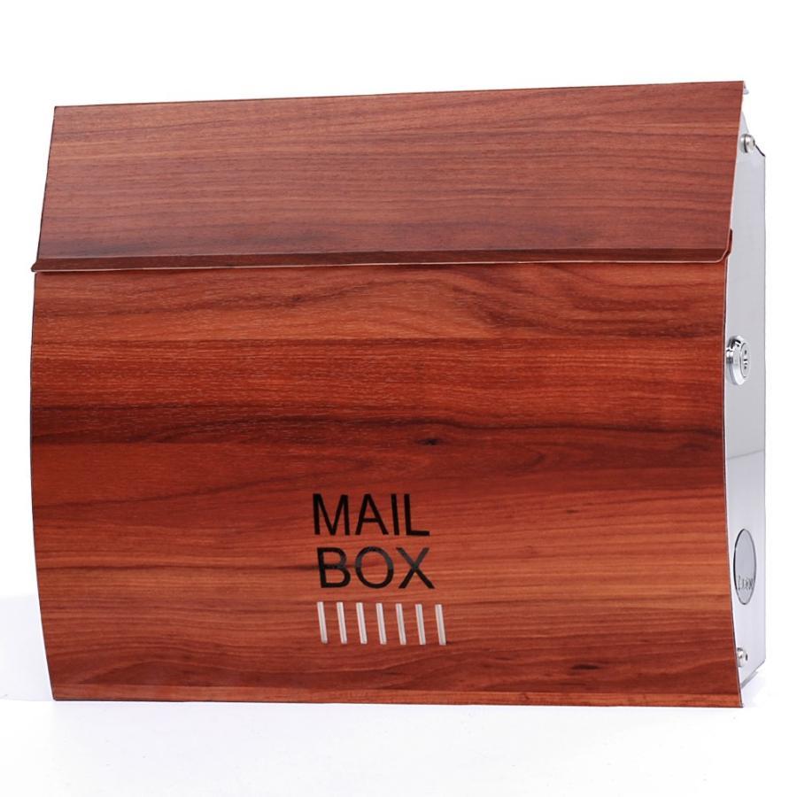 ポスト おしゃれ 壁掛け 郵便ポスト 防水 屋外用 鍵付き MB4801木目調 MAILBOX表記有|post-sign-leon|14
