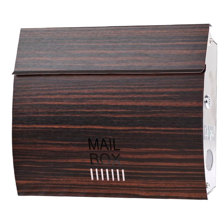 ポスト おしゃれ 壁掛け 郵便ポスト 防水 屋外用 鍵付き MB4801木目調 MAILBOX表記有|post-sign-leon|15