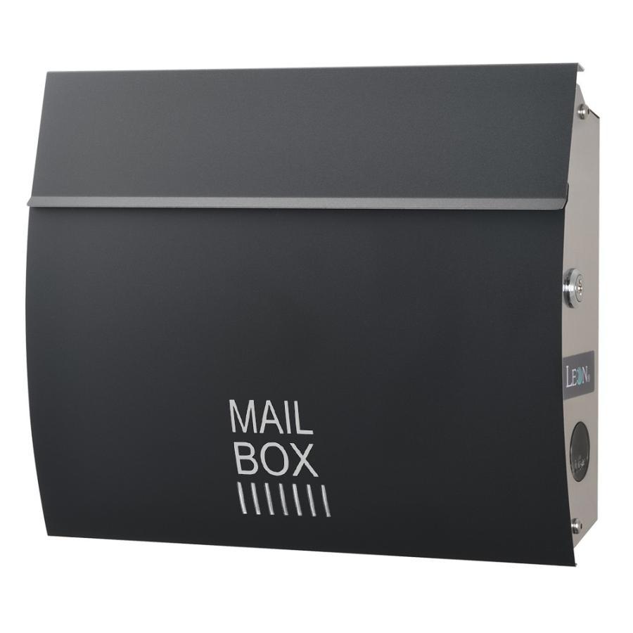ポスト おしゃれ 壁掛け 郵便ポスト 防水 屋外用 鍵付き MB4801木目調 MAILBOX表記有|post-sign-leon|17