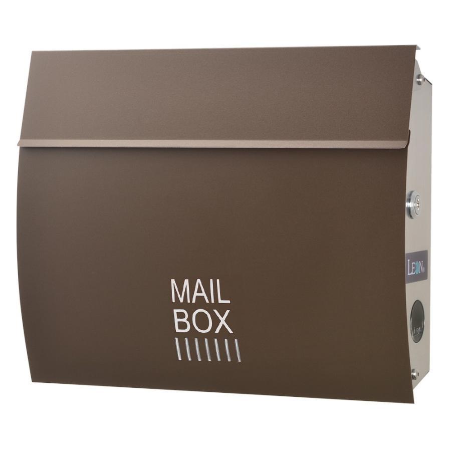 ポスト おしゃれ 壁掛け 郵便ポスト 防水 屋外用 鍵付き MB4801木目調 MAILBOX表記有|post-sign-leon|18
