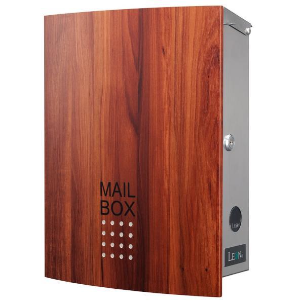 ポスト おしゃれ 壁掛け 郵便ポスト 鍵付き MB4504木目調 MAILBOX表記有|post-sign-leon|14