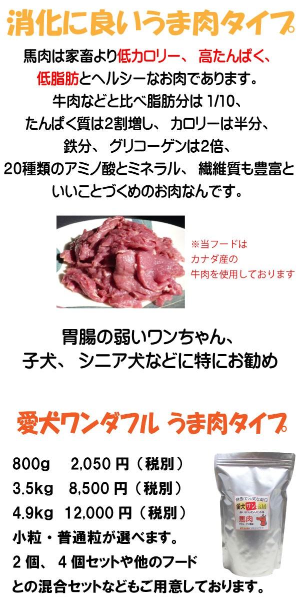 馬肉のドッグフード、馬肉は豚や牛のような配合飼料で育ってないのでアレルギーになりにくく、有効な酵素も豊富なドッグフードにぴったりな食材です。