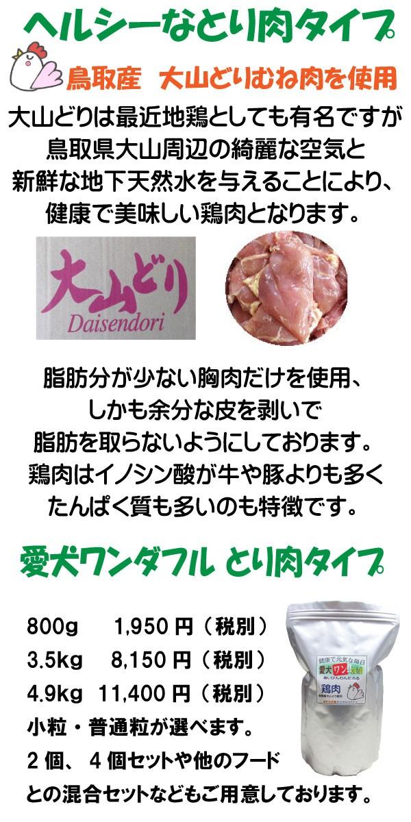 鶏肉を使ったドッグフード、愛犬ワンダフルは鳥取県産の大山どりの胸肉のみを使ったヘルシーフードとなります。